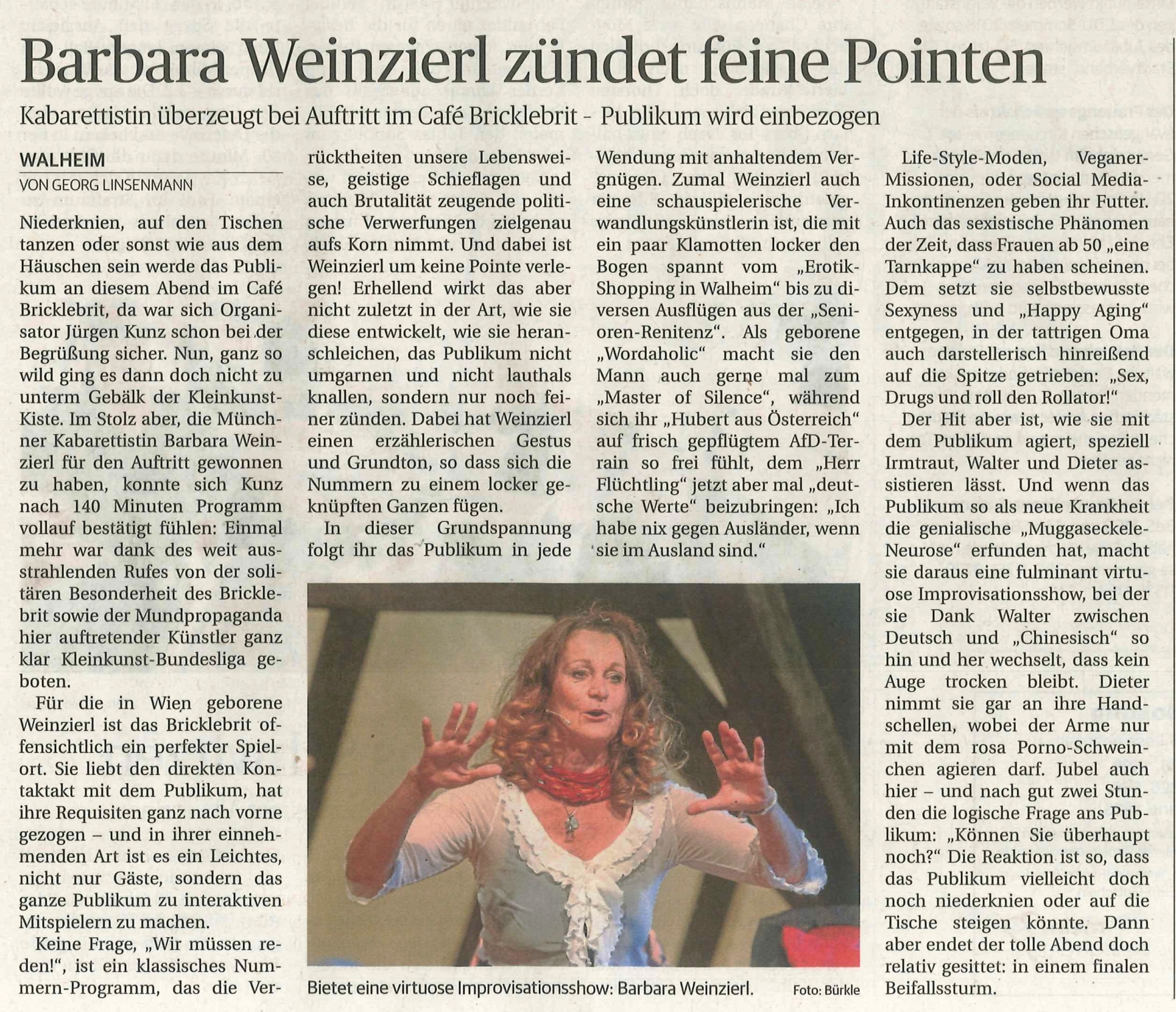 """Barbara Weinzierls Kabarett """"Wir müssen reden! Sex, Geld und Erleuchtung"""" - Kritik in der Ludwigsburger Kreiszeitung vom 5. Juni 2018 als jpeg-Bild"""
